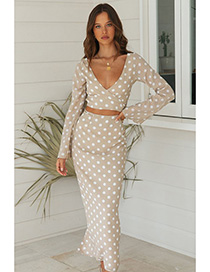 Fashion M Beige Polka-dot V-neck Long-sleeved Shirt Slim Fishtail Skirt Suit