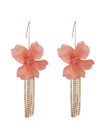 Fashion Pink Acrylic Flower And Diamond Tassel Earrings