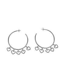 Fashion Silver Gold-plated Large Circle Heart Openwork Earrings
