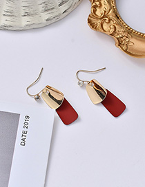 Fashion Red Geometric Contrast Earrings With Diamonds