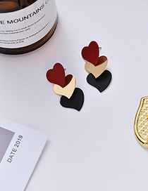 Fashion Wine Red Love Contrast Color Stitching Earrings