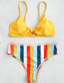 Fashion Yellow Knotted Striped Print Split Swimsuit