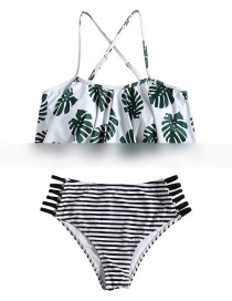 Fashion Black And White Printed Striped High Waist Cutout Swimsuit