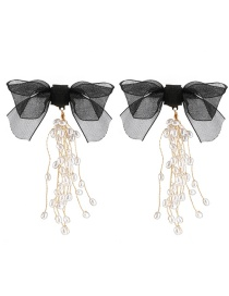 Fashion Black Lace Butterfly With Gold And Pearl Fringed Earrings
