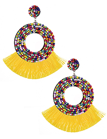 Fashion Yellow + Color Felt Rice Beads Round Tassel Earrings