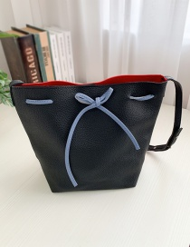 Fashion Black Red Pu Colorblock Drawstring Shoulder Bag