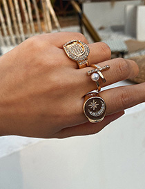 Fashion Golden Diamond Star Moon Geometric Ring Set