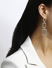 Fashion White K Diamond-plated Geometric Alloy Earrings
