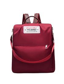 Fashion Red Wine Nylon Lettering Backpack