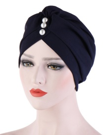 Fashion Navy Bamboo Linen Forehead Folds With Pearl Turban Hat