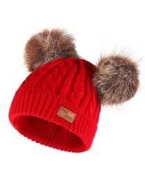 Fashion Brown Ball-scarlet Thick Double Wool Ball With Standard Children's Wool Hat