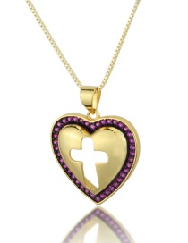 Fashion Gold-plated Red Zirconium Heart Cutout Cross Necklace With Diamonds