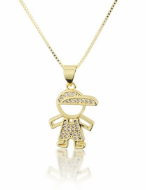 Fashion Gold-plated Hollow Boy Necklace With Diamonds And Hat