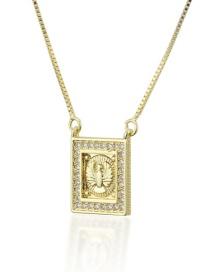 Fashion Gold-plated Diamond Square Eagle Tag Necklace