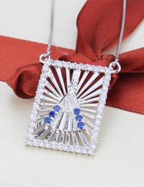 Fashion Platinum-plated Cutout Our Lady Of The Diamonds Tag Necklace