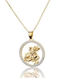 Fashion Gold-plated Knight Hollow Necklace With Round Dragon Slaying