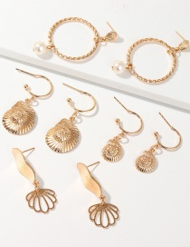 Fashion Golden Conch Scallop Ring Pearl Earring Set