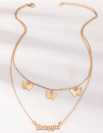 Fashion Golden Metal Three-dimensional Butterfly Double Letter Necklace