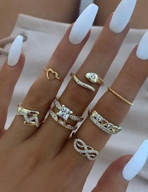Fashion Golden Diamond Snake Heart Bow Openwork Ring Set