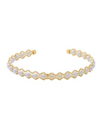 Fashion Golden Hollow Pearl Opening Adjustable Bracelet