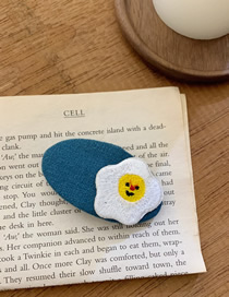 Fashion Navy Embroidered Poached Egg Contrast Color Geometric Hairpin