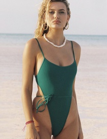 Fashion Green Tie Lace One-piece Swimsuit