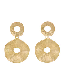 Fashion Sub-gold Alloy Irregular Round Hollow Stud Earrings
