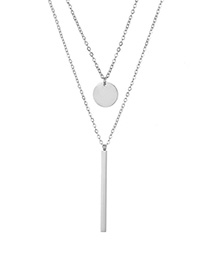 Fashion Steel Color Rectangular Small Round Stainless Steel Double Layer Necklace