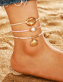 Fashion Golden Pearl Shell Scallop String Anklets Suit