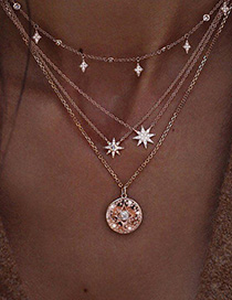 Fashion Golden Starburst Multilayer Diamond Circular Pearl Necklace Alloy