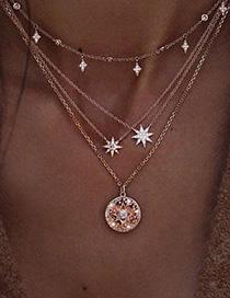 Fashion Golden Starburst Multilayer Diamond Circular Pearl Necklace Alloy