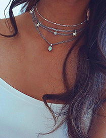 Fashion Silver Five-pointed Star Multilayer Diamond Necklace
