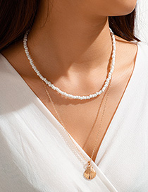 Fashion Golden Rice Pearl Scallop Alloy Multilayer Necklace