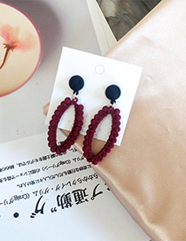 Fashion Wine Red Flocking Hit Color Geometric Cutouts Earrings