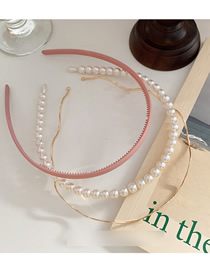Fashion Pink Pearl Wave Metal Toothed Hair Hoop Combination