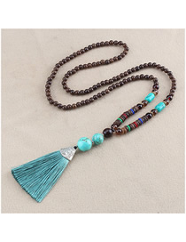 Fashion Green Fringed Turquoise Beaded Sweater Chain