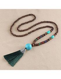 Fashion Green Tassel Turquoise Bead Sweater Chain