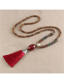 Fashion Red Fringed Agate Egg-shaped Bead Sweater Chain