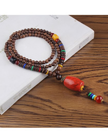 Fashion Red Resin Cylindrical Wooden Beads Long Sweater Chain