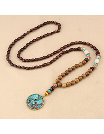 Fashion Blue Elephant Wooden Beads Long Sweater Chain