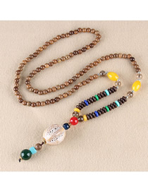 Fashion White Ceramic Pumpkin Shaped Wooden Beads Long Necklace