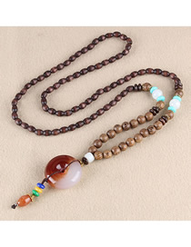 Fashion Brown Resin Safety Buckle Wooden Beads Long Chain