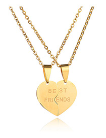 Fashion Golden Broken Heart Letter Stainless Steel Couple Necklace