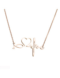 Fashion Rose Gold Ecg Titanium Steel Openwork Necklace