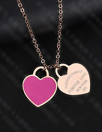 Fashion Rose Heart-rose Gold Stainless Steel Double Heart Enamel Letter Necklace