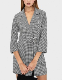 Fashion Lattice V-neck Blazer With Plaid Belt