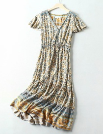 Fashion Blue Cashew Man Cotton Printed V-neck Belt Dress