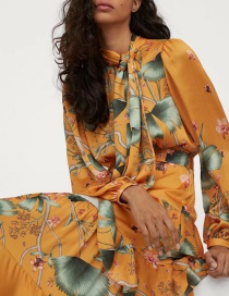 Fashion Orange Scarf Collar Printed Layered Stitching Maxi Dress