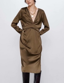 Fashion Brown Bow-neck Silk-satin Dress