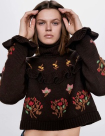 Fashion Brown Embroidered And Layered Aged Sweater